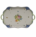 """Herend Printemps With Blue Border Rectangular Tray With Branch Handles  18"""""""