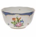 """Herend Printemps With Blue Border Round Bowl  (3.5 Pt) 7.5""""D"""