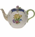 """Herend Printemps With Blue Border Tea Pot With Rose  (36 Oz) 5.5""""H"""