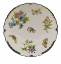 "Herend Queen Victoria Blue Border Dinner Plate 10.5""D"