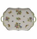 "Herend Queen Victoria Blue Border Rectangular Tray With Branch Handles 18""L"