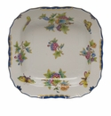 "Herend Queen Victoria Blue Border Square Fruit Dish 11""Sq"