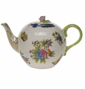 "Herend Queen Victoria Blue Border Tea Pot With Rose (36 Oz) 5.5""H"