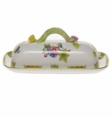 "Herend Queen Victoria Butter Dish With Branch  8.5""L"