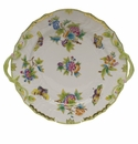 "Herend Queen Victoria Chop Plate With Handles  12""D - Green Border"
