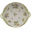 "Herend Queen Victoria Chop Plate With Handles  14""D - Green Border"