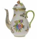 Herend Queen Victoria Coffee Pot With Rose  (36 Oz) 8.5