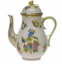 Herend Queen Victoria Coffee Pot With Rose  (60 Oz) 10""