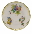 "Herend Queen Victoria Covered Bouillon Saucer  6.5""D - Green Border"