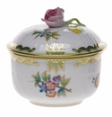 Herend Queen Victoria Covered Sugar With Rose  (4 Oz) 3.25""
