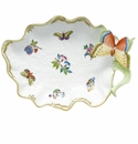 Herend Queen Victoria Fancies Large Leaf Dish With Butterfly 10