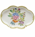 "Herend Queen Victoria Fancies Small Scalloped Tray 5.5""L G"