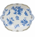 """Herend Queen Victoria Fortuna Blue Square Cake Plate With Handles 9"""""""