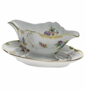 Herend Queen Victoria Gravy Boat With Fixed Stand  0.75pt - Green Border