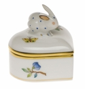 "Herend Queen Victoria Heart Box With Bunny 2""H"