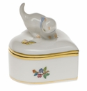 "Herend Queen Victoria Heart Box With Cat 2.75""H"