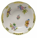 "Herend Queen Victoria Oatmeal Bowl  6.5""D - Green Border"