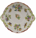 "Herend Queen Victoria Pink Border Chop Plate With Handles 12""D"