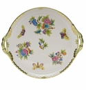 "Herend Queen Victoria Round Tray With Handles  11.25""D"