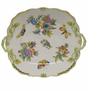 "Herend Queen Victoria Square Cake Plate With Handles 9"" - Green Border"