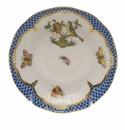 "Herend Rothschild Bird Blue Border After Dinner Saucer 4.5""D"