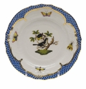 Herend Rothschild Bird Blue Border Bread & Butter Plate - Motif 01 6""