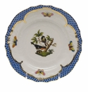 Herend Rothschild Bird Blue Border Bread & Butter Plate - Motif 02 6""