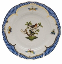 Herend Rothschild Bird Blue Border Bread & Butter Plate - Motif 03 6""