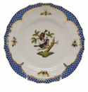 Herend Rothschild Bird Blue Border Bread & Butter Plate - Motif 04 6""