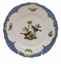 Herend Rothschild Bird Blue Border Bread & Butter Plate - Motif 05 6""