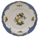 Herend Rothschild Bird Blue Border Bread & Butter Plate - Motif 06 6""