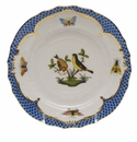 Herend Rothschild Bird Blue Border Bread & Butter Plate - Motif 07 6""