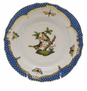 Herend Rothschild Bird Blue Border Bread & Butter Plate - Motif 08 6""