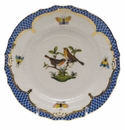 Herend Rothschild Bird Blue Border Bread & Butter Plate - Motif 09 6""