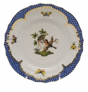 Herend Rothschild Bird Blue Border Bread & Butter Plate - Motif 10 6""