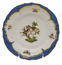 Herend Rothschild Bird Blue Border Bread & Butter Plate - Motif 11 6""