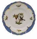 Herend Rothschild Bird Blue Border Bread & Butter Plate - Motif 12 6""