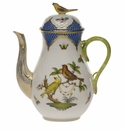 Herend Rothschild Bird Blue Border Coffee Pot With Bird  (36 Oz) 8.5