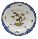 Herend Rothschild Bird Blue Border Dessert Plate - Motif 01 8.25""