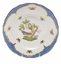 Herend Rothschild Bird Blue Border Dessert Plate - Motif 02 8.25""