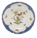 Herend Rothschild Bird Blue Border Dessert Plate - Motif 03 8.25""