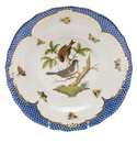 Herend Rothschild Bird Blue Border Dessert Plate - Motif 04 8.25""