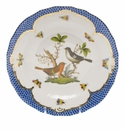 Herend Rothschild Bird Blue Border Dessert Plate - Motif 05 8.25""