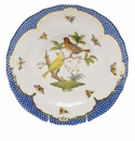 Herend Rothschild Bird Blue Border Dessert Plate - Motif 06 8.25""