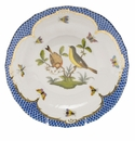 Herend Rothschild Bird Blue Border Dessert Plate - Motif 07 8.25""