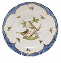 Herend Rothschild Bird Blue Border Dessert Plate - Motif 08 8.25""