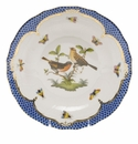 Herend Rothschild Bird Blue Border Dessert Plate - Motif 09 8.25""