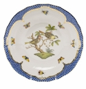 Herend Rothschild Bird Blue Border Dessert Plate - Motif 11 8.25""