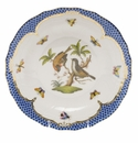 Herend Rothschild Bird Blue Border Dessert Plate - Motif 12 8.25""