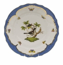 "Herend Rothschild Bird Blue Border Dinner Plate - Motif 01 10.5""D"